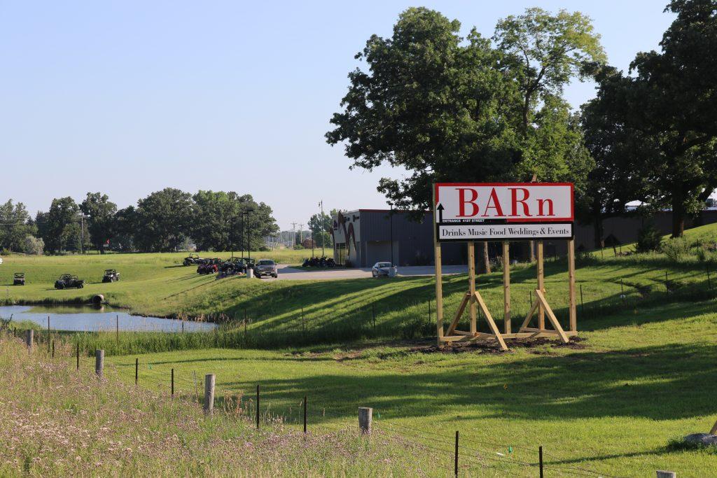 Okoboji Barn billboard sign