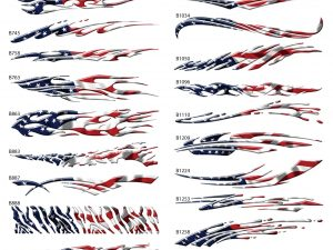 American Flag themed auto graphics printed, laminated and contour cut decals