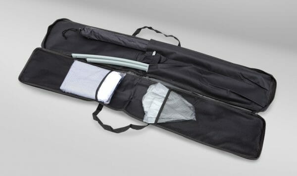 Oxford Case for Feather Flag Flying Banner kit, open to show parts.
