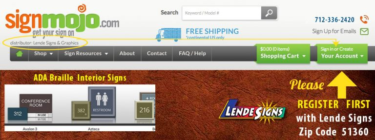 Create Your Account with Lende Signs Distributor of SignMojo Interior ADA signs
